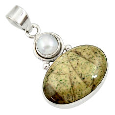 Clearance Sale- 15.08cts natural brown cotham landscape marble pearl 925 silver pendant d33688