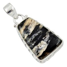 Clearance Sale- 925 sterling silver 16.20cts natural black banded oil shale fancy pendant d33689