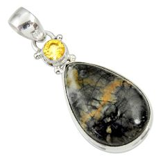 Clearance Sale- 17.57cts natural black picasso jasper citrine 925 sterling silver pendant d33691