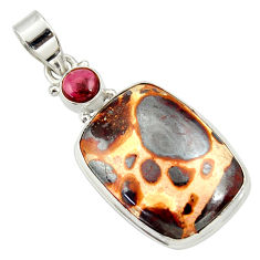 925 sterling silver 18.70cts natural brown bauxite pendant jewelry d33692