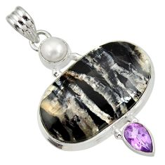Clearance Sale- 25.00cts natural black banded oil shale amethyst 925 silver pendant d33693