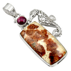 29.78cts natural garnet in limestone spessartine silver seahorse pendant d33709