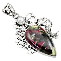 925 sterling silver 17.69cts natural pink eudialyte pearl fish pendant d33715