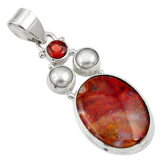 Clearance Sale- 16.73cts natural brown moroccan seam agate garnet 925 silver pendant d33716