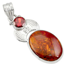 Clearance Sale- 15.39cts natural brown moroccan seam agate garnet 925 silver pendant d33717