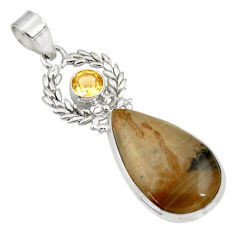 Clearance Sale- 18.70cts natural brown cotham landscape marble citrine 925 silver pendant d33722