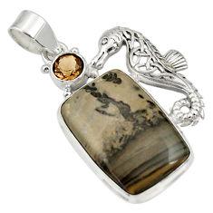 Clearance Sale- 22.23cts natural brown cotham landscape marble silver seahorse pendant d33723
