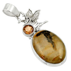Clearance Sale- Natural cotham landscape marble 925 silver angel wings fairy pendant d33728