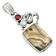 13.71cts natural mexican laguna lace agate 925 silver dragon pendant d33730