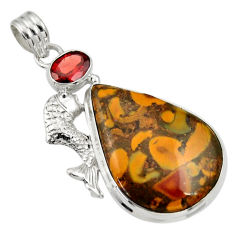 Clearance Sale- 925 silver 26.65cts natural brown bamboo leaf jasper garnet fish pendant d33735