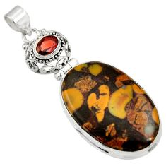 Clearance Sale- 28.30cts natural brown bamboo leaf jasper garnet 925 silver pendant d33736