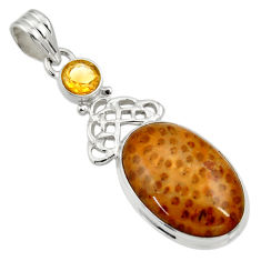 Clearance Sale- 15.67cts natural brown plum wood jasper citrine 925 silver pendant d33737