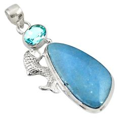 25.57cts natural blue angelite topaz 925 sterling silver fish pendant d33740