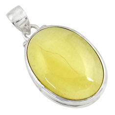 Clearance Sale- 17.55cts natural yellow olive opal 925 sterling silver pendant jewelry d33741