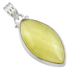 Clearance Sale- 17.22cts natural yellow olive opal 925 sterling silver pendant jewelry d33742