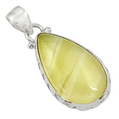 Clearance Sale- 15.67cts natural yellow olive opal 925 sterling silver pendant jewelry d33745
