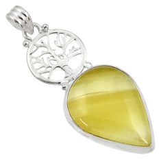 Clearance Sale- 23.11cts natural yellow olive opal 925 silver tree of life pendant d33746
