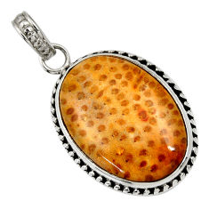 Clearance Sale- 13.70cts natural brown plum wood jasper 925 sterling silver pendant d33755