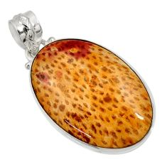 17.57cts natural brown plum wood jasper 925 sterling silver pendant d33758