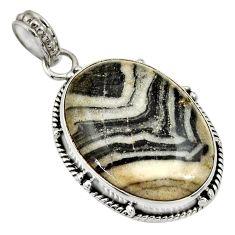Clearance Sale- 18.15cts natural black zebra jasper 925 sterling silver pendant jewelry d33762