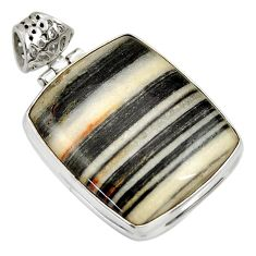 Clearance Sale- 28.86cts natural black zebra jasper 925 sterling silver pendant jewelry d33764