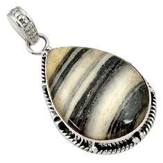 Clearance Sale- 15.65cts natural black zebra jasper 925 sterling silver pendant jewelry d33765