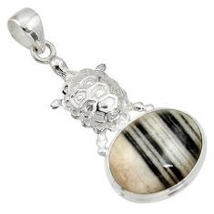 17.69cts natural black zebra jasper 925 sterling silver turtle pendant d33768