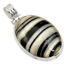 Clearance Sale- 925 sterling silver 25.00cts natural black zebra jasper pendant jewelry d33769