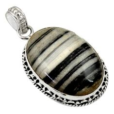 Clearance Sale- 925 sterling silver 19.23cts natural black zebra jasper pendant jewelry d33772