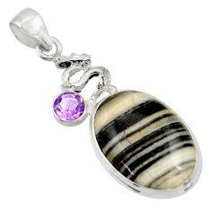 18.46cts natural black zebra jasper amethyst 925 sterling silver pendant d33774