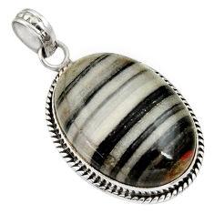 Clearance Sale- 925 sterling silver 18.70cts natural black zebra jasper pendant jewelry d33775