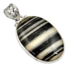 Clearance Sale- 20.88cts natural black zebra jasper 925 sterling silver pendant jewelry d33776