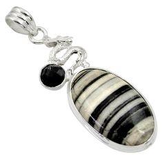 19.23cts natural black zebra jasper onyx 925 sterling silver pendant d33777