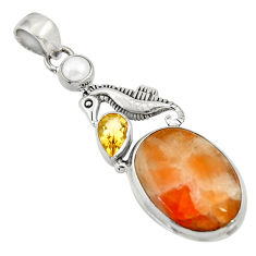 925 silver 18.17cts natural orange calcite citrine pearl seahorse pendant d33779