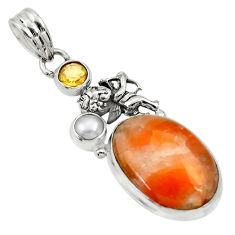 15.47cts natural orange calcite citrine 925 sterling silver angel pendant d33780