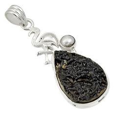 Clearance Sale- 925 silver 17.57cts natural black tektite pearl flamingo charm pendant d33788