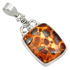 925 sterling silver 19.23cts natural brown bauxite pendant jewelry d33789