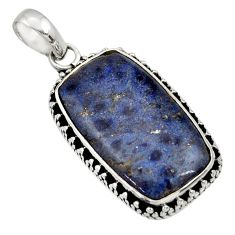 Clearance Sale- 15.65cts natural blue dumortierite 925 sterling silver pendant jewelry d33794