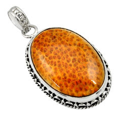 Clearance Sale- 19.23cts natural brown plum wood jasper 925 sterling silver pendant d33795