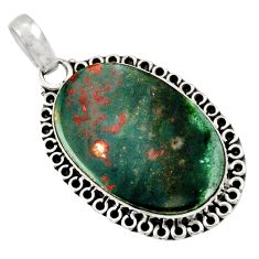 15.05cts natural green bloodstone african (heliotrope) 925 silver pendant d33818