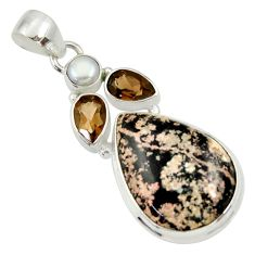 Clearance Sale- 19.23cts natural pink firework obsidian smoky topaz 925 silver pendant d33826