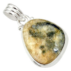 Clearance Sale- 15.65cts natural blue dumortierite 925 sterling silver pendant jewelry d33829