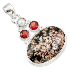 Clearance Sale- 17.57cts natural pink firework obsidian garnet pearl 925 silver pendant d33837