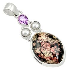 Clearance Sale- 925 silver 18.15cts natural pink firework obsidian amethyst pearl pendant d33838