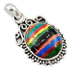 Clearance Sale- 8.12cts natural multi color rainbow calsilica 925 sterling silver pendant d33843
