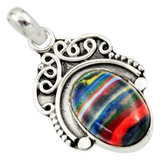Clearance Sale- 925 sterling silver 8.26cts natural multi color rainbow calsilica pendant d33844