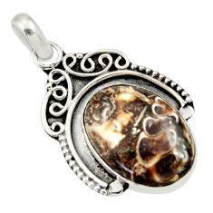 Clearance Sale- 13.67cts natural brown turritella fossil snail agate 925 silver pendant d33845