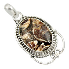 Clearance Sale- 12.22cts natural brown turritella fossil snail agate 925 silver pendant d33846