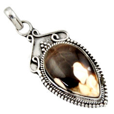 Clearance Sale- 14.72cts natural brown peanut petrified wood fossil 925 silver pendant d33849