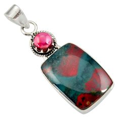 17.22cts natural green bloodstone african (heliotrope) 925 silver pendant d33867